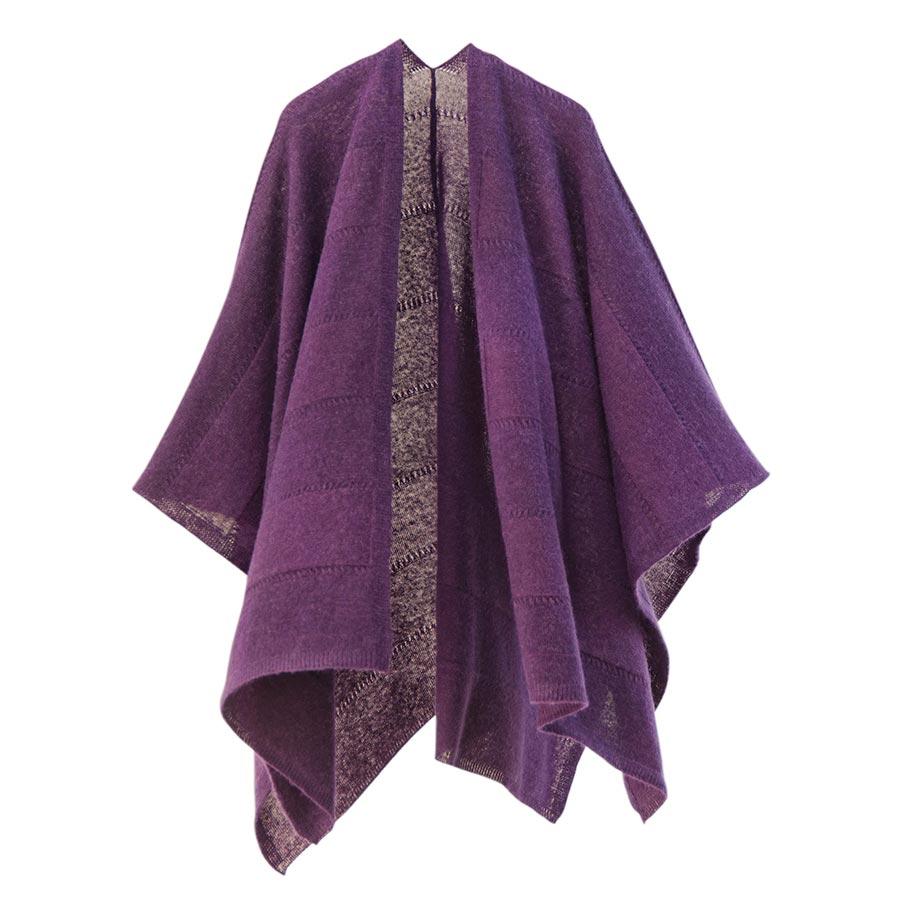 【ニットポンチョmino】winter tate baby alpaca & wool パープル フリーサイズ ベビーアルパカ&ウール / 縦にスリットを入れた羽織タイプのポンチョです。[送料無料]