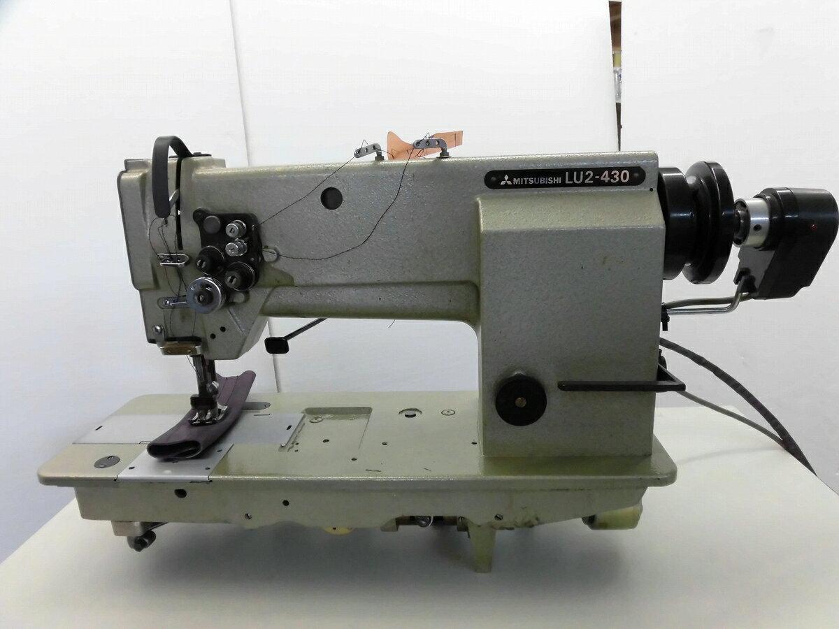 【中古】三菱 LU2-430 MITSUBISHI ミツビシ  三菱ミシン2本針総合送りミシン糸切機能付き。厚物仕様。ミシン頭部のみ 針幅12.5mm 1/2