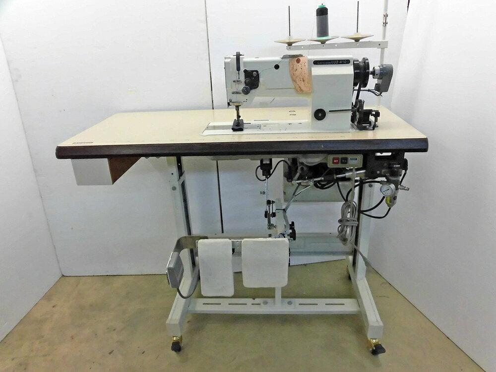 「押さえ上げ装置が電気式がご希望の場合は電気式に交換いたします。」【中古】SSM−1532 立ミシン仕様 三菱 MITSUBISHI ミツビシ 三菱ミシンLU2−410 1本針本縫いミシン総合送り機構自動糸切ミシン、エアー式押さえ機能付き。三相200V仕様です。