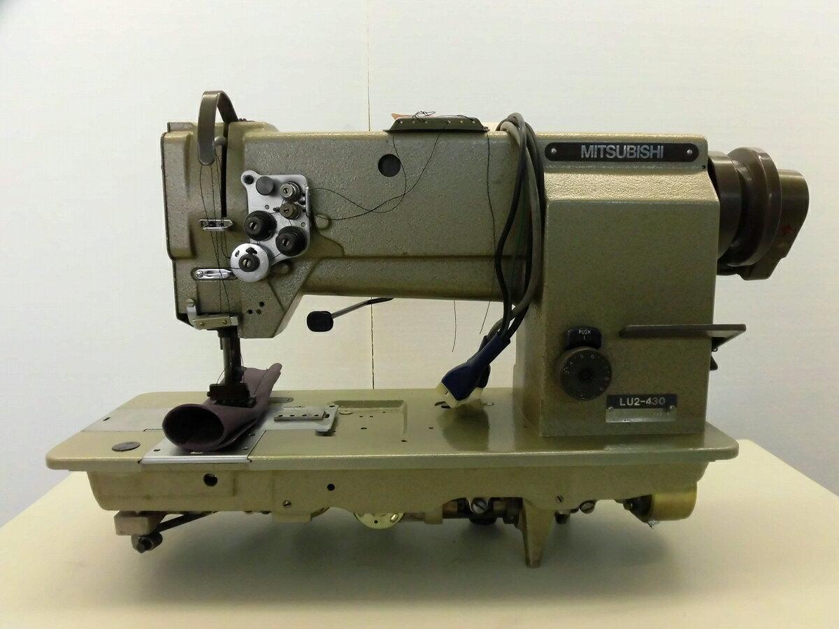 【中古】三菱 LU2-430 MITSUBISHI ミツビシ  三菱ミシン2本針総合送りミシン糸切機能付き。厚物仕様。ミシン頭部のみ 針幅22mm 7/8