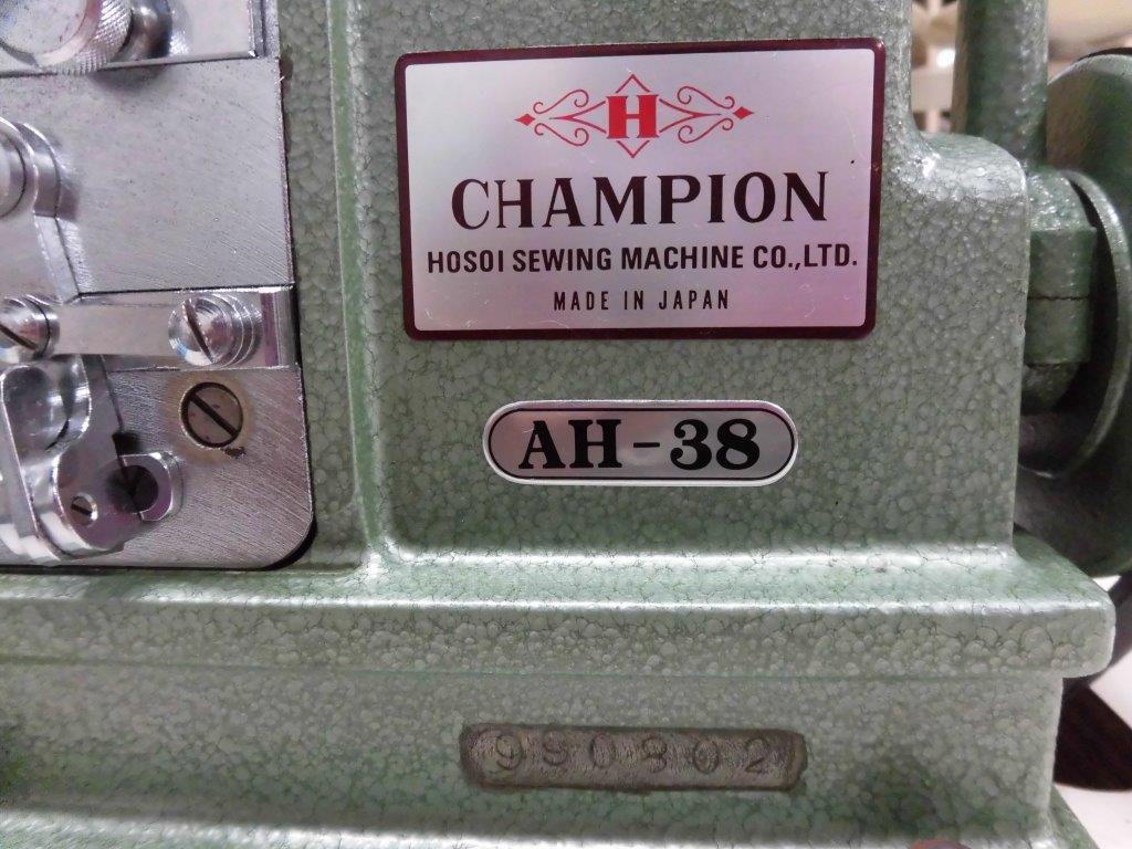 【中古】日本製 チャンピョン ミシンモデルNO−AH-38型 「ミシン頭部のみです。テーブル・脚・モーターは別お見積りとなります。」 大ハマグリ縫いミシン。弊社にて整備済。新品と同じく6か月の保障付き。程度が非常に良いです。