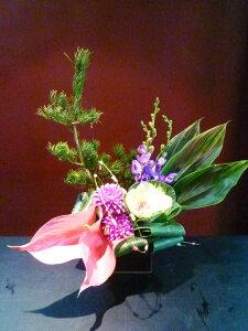【アレンジメント】ダリア 紫モカラ 葉牡丹 アンスリュームドラセナ ハワイアンフラッグ 松 餅花