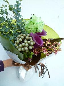 紫カラー 染めスイートピー オンシジューム バーゼリア ユーカリ アンスリュームの葉 ブロンズリーブス