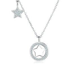 【送料無料】Star & Moon ネックレス レディース シルバー925 シンプル チェーン 金属アレルギー ジュエリー プレゼント アジャスター ジルコニア 誕生日
