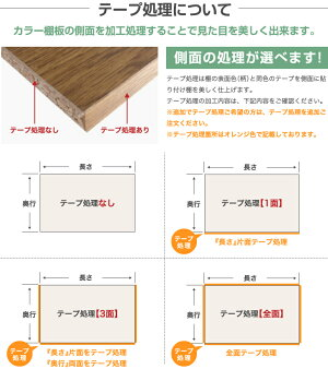 カラー棚板のテープ処理