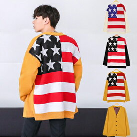 24674d2bd8020 カーディガン 全3色 星条旗柄 Vネック ニット カーディガン ニットセーター ゆったりシルエット