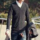 ニット メンズ 【在庫一掃】【メール便可】12color Vネック 薄手 ニットセーター ニットソー クルーネック【カラバリ…