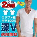 【お得な2枚組セット】深VネックTシャツ エジプト綿 ギザ GIZA イージーモンキー限定 日本製 Made in JAPAN コットン1…