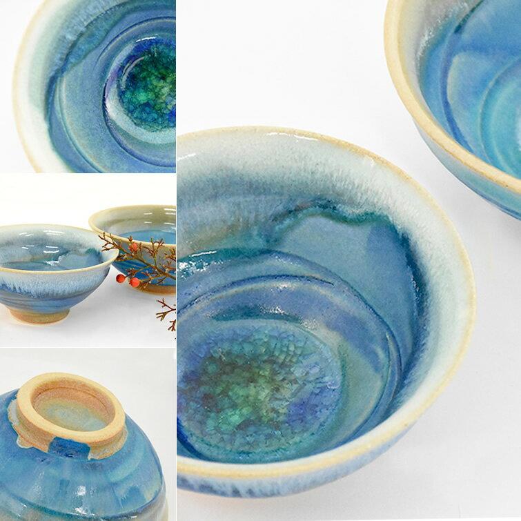 <075-G>益子焼 陶器 夫婦茶碗 ギフト[和食器 青 オーブン レンジ 電子レンジ 食洗機にもおすすめ