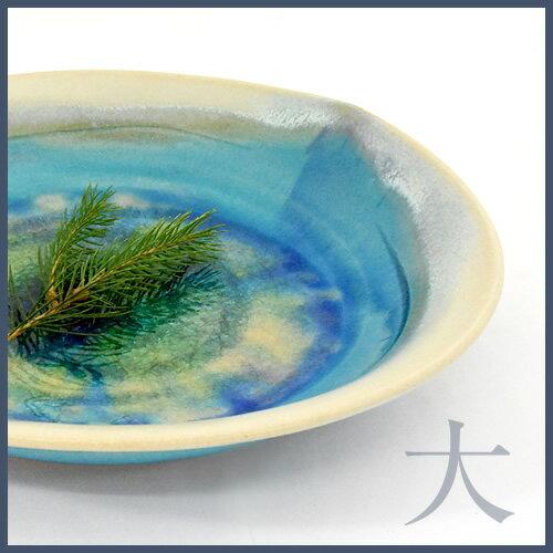 <080-T>益子焼 陶器 ハート型8寸[和食器 青 オーブン レンジ 電子レンジ 食洗機にもおすすめ