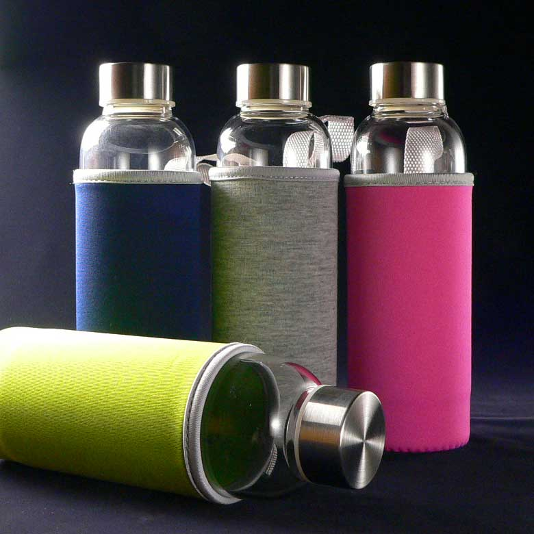 ガラスタンブラー「キャリーティーボトル」480ml(カバー4色)[茶こしフィルター付きのおしゃれな耐熱性ガラスボトル水筒(マイボトル)] オフィスのデスクに、旅行やおでかけに、急須のかわりに。水出しにも