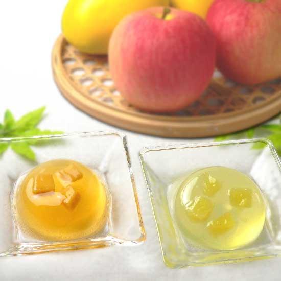 煎茶ゼリー りんご / ほうじ茶ゼリー マンゴー 詰合せ[天然水で抽出した透き通ったお茶のゼリーにフルーツの果肉を入れた夏のスイーツ]