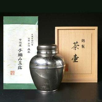宇治產欽點玉露茶/錫茶壺 (IBA) 套的 10P23Sep15 [是精美手繪紋理工匠由傳統的高品質茶葉在宇治茶玉露、 松、 竹、 梅與令人驚歎的茶壺 (大阪鉛錫合金) 欽點]