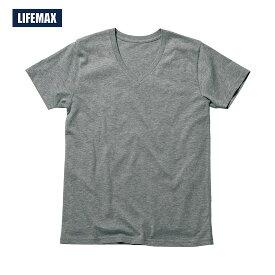 Tシャツ 半袖 メンズ オーガニックコットンVネックTシャツ 無地 LIFEMAX ライフマックス 4.3オンス XS S M L XLサイズ