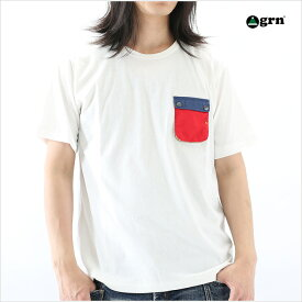 grn ジーアールエヌ ポケット付Tシャツ メンズ M Lサイズ ホワイト グレー