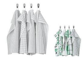 IKEA イケア RINNIG リンニング キッチンクロス 4枚組 45x60cm 色落ちしにくい 先染めコットン つり下げループ付き