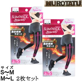 2枚セット スリムウォーク ビューアクティ 燃焼シェイプレギンス UVカット ブラック S-Mサイズ M-Lサイズ スポーツ レギンス 重ね履き