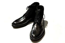 【SALE】ボエモス ブーツ BOEMOS イタリア製 トリッカーズ風レースアップブーツ 黒 カーフ size42(27.0cm)【当店通常価格42,900円】