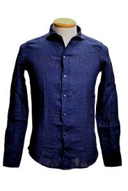 チットラグジュアリー/ cit luxury/ イタリアンカラーシャツ/インディゴ ガーメントダイ/リネン/ 当店通常価格24,200円