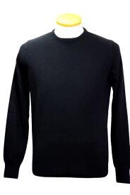 送料無料 モルガーノ MORGANO セーター メンズ おしゃれ 秋冬 ニット メンズ ソフトタッチ 無地 カシミア メリノウール ブラック イタリア製