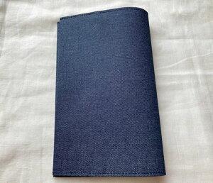 【メール便OK】ブックカバー 新書判サイズ TOCONUTS/トコナッツ 可愛いプリント生地 手軽に使える差し込むタイプ (厚さ1.5cm、300ページ程度にも対応)ネイビー・紺色