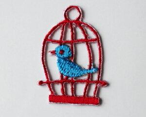 【メール便・ポスト投函便OK】 アイロンワッペン&シールワッペン(両方兼ねてます)布生地やノートや手帳に貼れる可愛い刺繍のワッペン(パッケージの台紙サイズ85×53mm)赤の鳥かご・