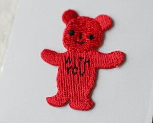 【メール便・ポスト投函便OK】 アイロンワッペン&シールワッペン(両方兼ねてます)布生地やノートや手帳に貼れる可愛い刺繍のワッペン(パッケージの台紙サイズ85×53mm)赤のクマさん