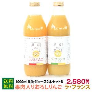 1000ml果物ジュース2本セットB(りんご&ラ・フランス)なかひら農場TEL:0265363206            配達指定日なし御歳暮注文は12月初旬以降にお届け送料無料 果汁100% なかひら農場 果