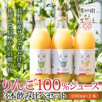 りんご果汁1000ml×3本