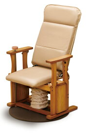 国産 中居木工 木製 起立補助椅子 ハイタイプDX回転付き リクライニング機能(4段階切替え)
