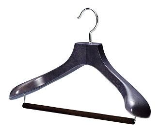 AUT-05NV/ felt bar / wooden men suit hanger / navy