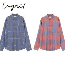 Ungrid(アングリッド)9,590⇒7,672(20%OFF)ルーズカラーチェックシャツ(111540424401)ブラウス コットン 綿 レディース カジュアル 送料無料