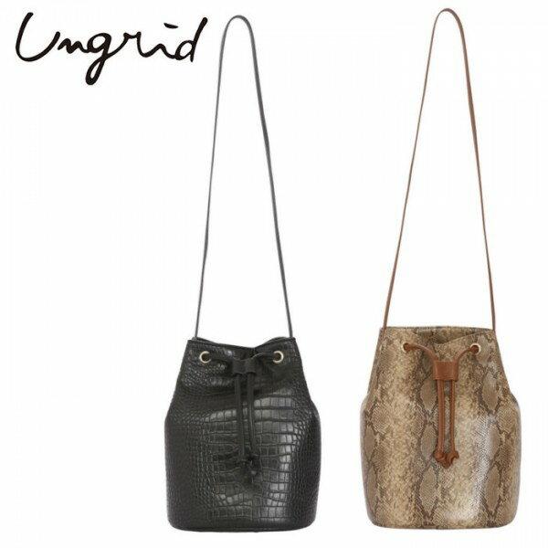 Ungrid(アングリッド)フェイクレザーショルダーBAG(111751936001)2017Autumn新作 バッグ クロコ パイソン 巾着 レディース カジュアル 送料無料