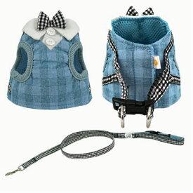 【新商品】猫用コンフォートハーネスリード付き おすまし襟ギンガムチェック