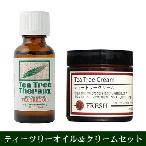 ティートリークリームと精油(ティーツリーオイル30ml)のセット