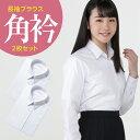 長袖 女子 学生角衿ブラウス 白 左胸ポケット 2枚セット | 制服 女子 角襟 スクールシャツ 形態安定 抗菌 消臭 a体 b…