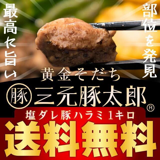 【送料無料】黄金そだち 三元豚太郎 塩ダレ豚ハラミ 【500g×2パック 計1kg】 焼肉 焼き豚 BBQ バーベキュー おつまみ つまみ 豚肉 肉