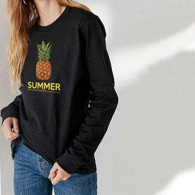 Tシャツ ロンT クルーネック 丸首 綿 長袖 カットソー メンズ レディース シンプルだから合わせやす 大人かわいい オシャレ ペア カップル おそろ リンクコーデ SUMMER サマー 夏 パイナップル フルーツ 男女ペアでも使えるコーデ幅の増えるシンプルロンTです!!