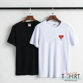 Tシャツ レディース メンズ クルーネック 丸首 綿 半袖 カットソー ロゴ プリント 大人かわいい オシャレ ペア カップル おそろ リンクコーデ おしゃれ 可愛い ハート heart シンプル ワンポイント キズ