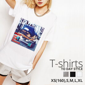 Tシャツ レディース メンズ Uネック クルーネック 丸首 綿 半袖 カットソー pug パグ 犬 スケボー photo 大人かわいい オシャレ かわいい かっこいい ロゴ ペア カップル おそろ リンクコーデ