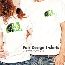Tシャツ レディース メンズ Uネック クルーネック 丸首 綿 半袖 カットソー THE PUG FACE パグ 犬 dog ぶさかわ 大人かわいい オシャレ かわいい かっこいい ロゴ ポイント ペア カップル おそろ リンクコーデ