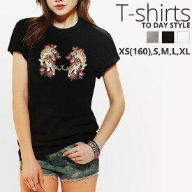 Tシャツ レディース メンズ Uネック クルーネック 丸首 綿 半袖 カットソー ロゴ プリント 虎 和柄 ボタニカル 花 大人かわいい かわいい かっこいい オシャレ ペア カップル おそろ リンクコーデ