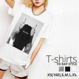 Tシャツ レディース メンズ クルーネック 丸首 綿 半袖 カットソー おもしろ 大人かわいい オシャレ かっこいい おとなかわいい bad girl FUCK OFF ファック オフ 中指 モノクロ cool