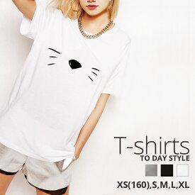 Tシャツ レディース メンズ Uネック クルーネック 丸首 綿 半袖 カットソー おもしろ 大人かわいい オシャレ かっこいい おとなかわいい 猫 ひげ フェイス ねこ cat 大人可愛い ユニーク おもしろ