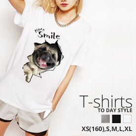 Tシャツ レディース メンズ Uネック クルーネック 丸首 綿 半袖 カットソー おもしろ 大人かわいい オシャレ かっこいい おとなかわいい パグ 犬 ドッグ pug dog more smile 大人可愛い