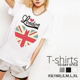 Tシャツ レディース メンズ クルーネック 丸首 綿 半袖 カットソー おもしろ 大人かわいい オシャレ かっこいい おとなかわいい ロンドン ユニオンジャック Union Jack NY ハート レトロ 大人可愛い