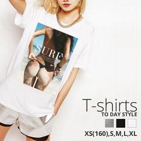 Tシャツ レディース メンズ クルーネック 丸首 綿 半袖 カットソー おもしろ 大人かわいい オシャレ かっこいい おとな セクシー 水着 海 サーフ sexy bikini beach girl surf