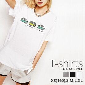 Tシャツ レディース メンズ Uネック クルーネック 丸首 綿 半袖 カットソー おもしろ 大人かわいい オシャレ かっこいい おとな 可愛い 車 ドライブ ワゴンバス 手書き風のワゴンバスが可愛いTシャツ
