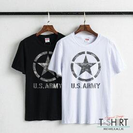 Tシャツ レディース メンズ Uネック クルーネック 丸首 綿 半袖 カットソー ロゴ プリント 大人かわいい オシャレ ペア カップル おそろ リンクコーデ ミリタリー U.S ARMY military logo アーミー カモフラ柄 camouflage かっこいい
