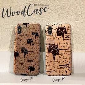 iPhoneX iPhone8 Plus iPhone7 Plus SE iPhone6s Plus xperiaZ5 木製 ケース スマホケース wood case おしゃれ ウッドケース 猫 ねこ ネコ cat 総柄 動物 かわいい 北欧 天然木だから1点1点違う、あなただけのウッドケース